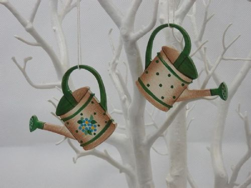 Hanging Watering Can Decorations - Set of 2